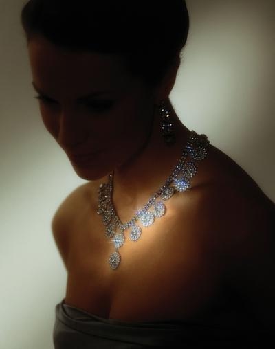 Woman Wearing Diamond Necklace